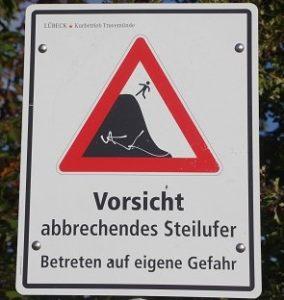 Bild: Warnschild - Vorsicht abbrechendes Steilufer